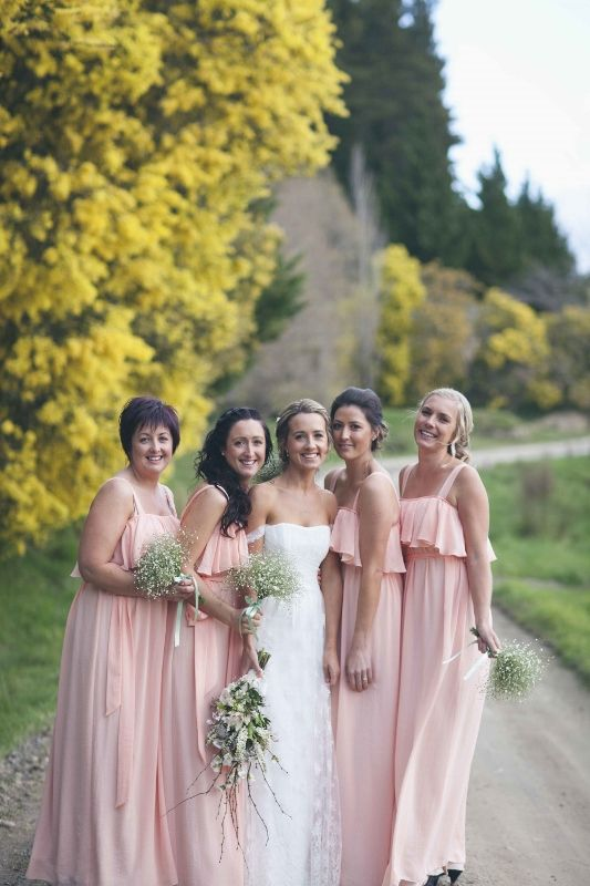 ViCTOR Bridesmaid - Style GRACE bridesmaid dresses. Long ruffle neck dress in peach chiffon with tie