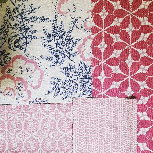 Rapture and wright pink and indigo look great together good for upholstery