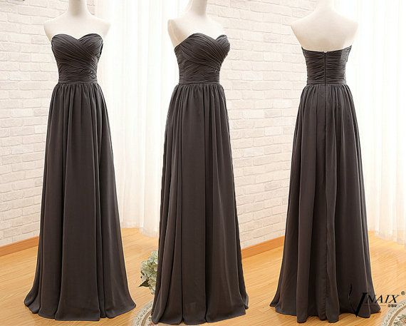 Sweetheart Sleeveless Long Elegant Formal Prom Dress Zipper Up Back Long Chiffon Bridesmaid Dress Drak Gray Long Dress