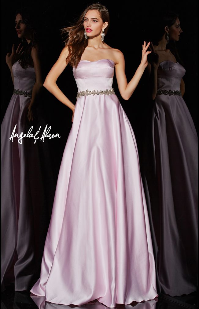 Style 51033 sweetheart neck line and natural waist with beaded detailed belt. A-line dress in multiple colours. This is the classic look for prom, homecoming, formal, pageants or any special event you really need to look fantastic at.