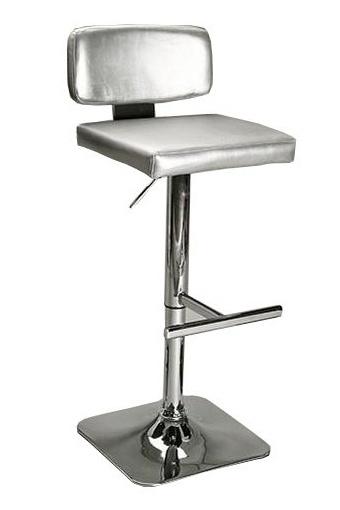 Taburete cromado con asiento de polipiel. Disponible en color plata, negro y blanco.
