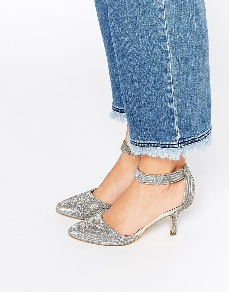 Image 1 ofOasis Glitter Heeled Court Shoes with Ankle Strap