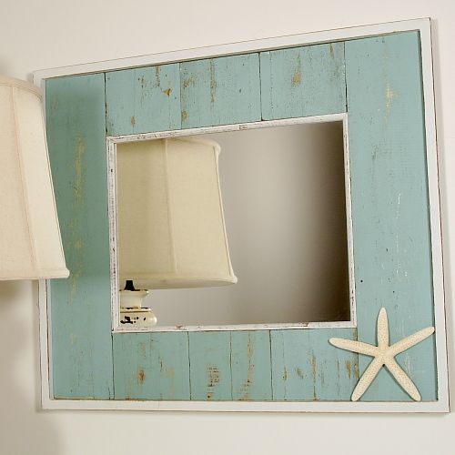 Recycled Wood Mirror. I'd love to make something like this with our bathroom mirror and some of the pallets Derek got from work.
