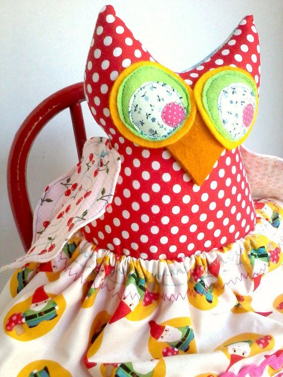 Owl doll plush toy stuffed fabric owl girl by sparrowandberry, $46.00
