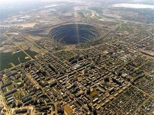 Russia. Mirny mine showing scale of hole.