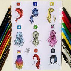 Cabelos de redes sociais