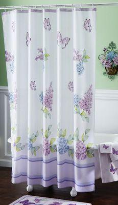 lilac butterflies bathroom shower curtain