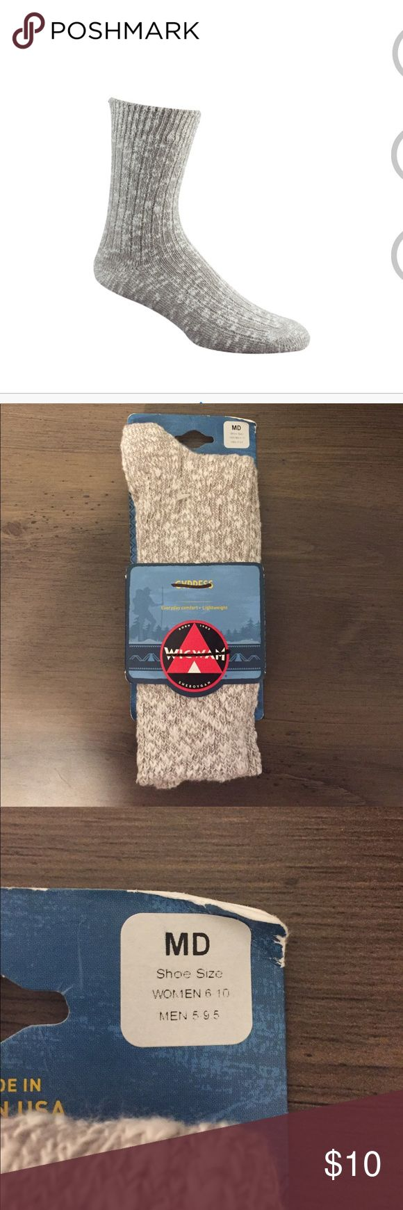 WigWam Cypress Socks NWT/  WIGWAM SOCKS CYPRESS Classic crew ragg-look, with cotton softness and support.  MATERIALS: 70% Cotton, 30% Stretch Nylon  PRODUCT FEATURES: Light Weight/Soft/Classic WigWam Underwear & Socks Casual Socks