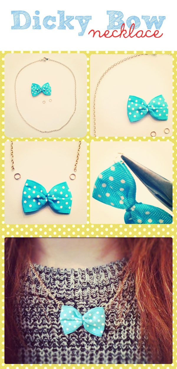 dicky bow necklace,: Diy Ideas, Dicki Bows, Crafts Ideas, Bows Ties, Diy Crafts, Diy Bows Necklaces, Big Bows, Tutorials Tuesday, Bowsheir Accessories