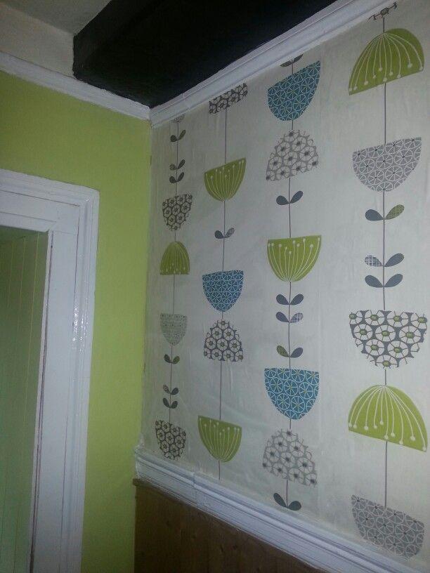 Dandelion funky green lime wallpaper teal vintage for Teal kitchen wallpaper