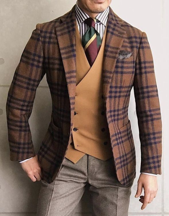 33cb6aaf6385 Autumn dapper combo inspiration orange double breasted waistcoat blue  striped shirt orange blue windowpane blazer brown pants maroon yellow green  silk tie ...