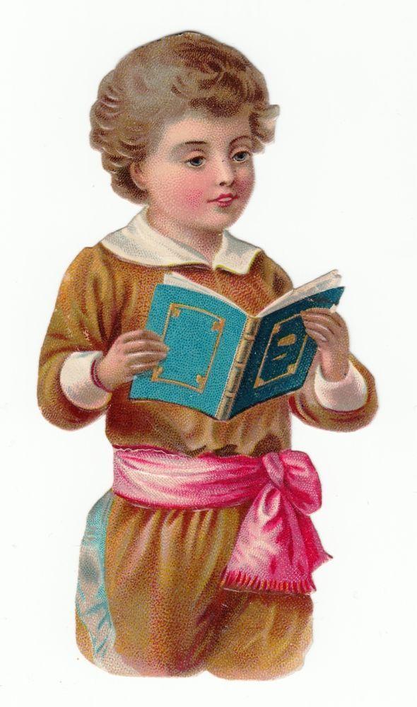 Oblaten Glanzbild  scrap die cut chromo / Junge mit Buch