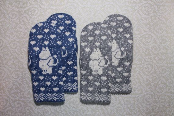 Hand-made adult mittens with moomin pattern
