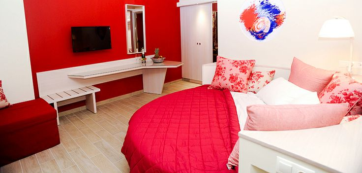 Studio 3 is the final ground floor studio and is for the seriously passionate! This trendy space is highlighted by hot earthy colours and has a super comfortable round bed plus a fold down chair bed if needed. Enter from the balcony and you will find a modern double bed close to the patio doors with a long desk/table opposite.