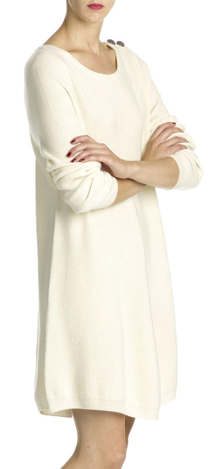 Robe cachemire blanc uni