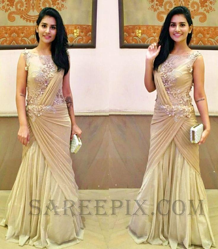 Beautiful Shanaya in saree gown by Kalki fashion at Josh Zachariah'scousin's weddingtonight.