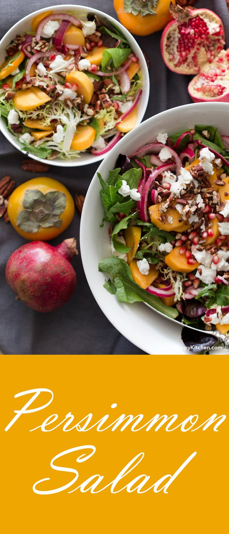 A simple Persimmon Salad for a light lunch. | Quick lunch, easy lunch, easy salads, healthy salads, healthy recipes