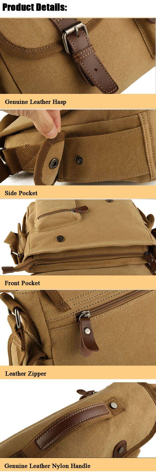 Men Canvas Casual Big Khaki Black Outdoor Shoulder Crossbody Bag Handbag