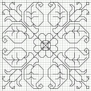 floral free blackwork biscornu pincushion pattern