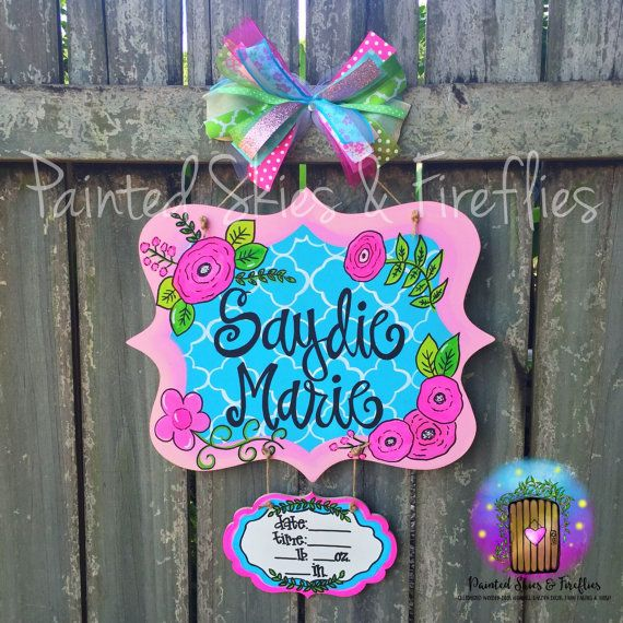 Birth Announcement Door Hanger / Nursery Decor / Hospital Door Hanger / Nursery /  Door Decor / Door Sign / Baby Shower Gift / Quatrefoil