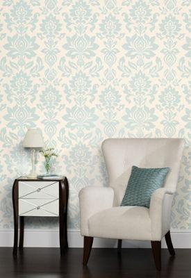 Laura Ashley - Hampstead - Duck Egg - Wallpaper | Homebase