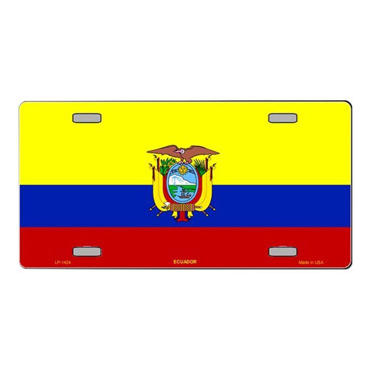 Smart Blonde Ecuador Flag Vanity Metal Novelty License Plate Tag Sign