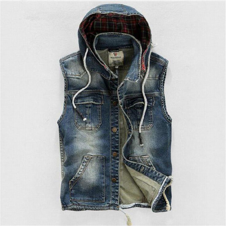 Men' Hooded Denim Vest Male Plus Size Casual Jeans Vest 2016 New High  Quality Retro · Jean Pour HommeManteau ...