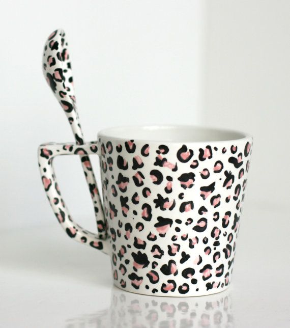 Cup and spoon duo  pink leopard print by TenshiNoChudoku on Etsy, $15.00