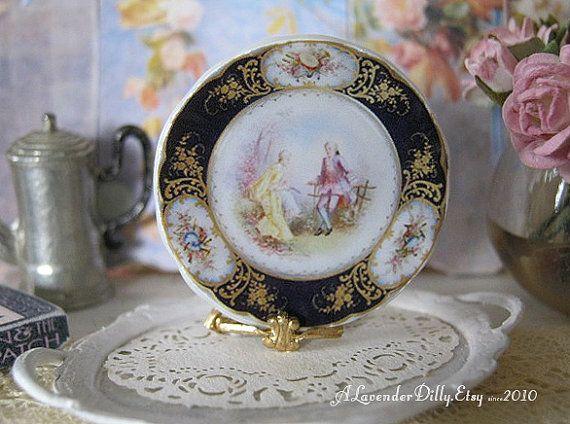 Black  Sevres Dollhouse Plate by ALavenderDilly on Etsy