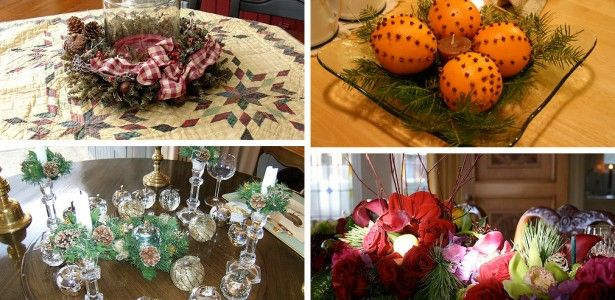 Romantic Christmas Dinner Table Decoration Ideas feats Red White Centerpieces Accent Picture Picture Of Inspirational Christmas Dining Table Decor Ideas Feats Orange Centerpiece On Teak Dining Table And Lavish Sleek Cutlery Set Over Red Table Cloth Pic. Christmas Image