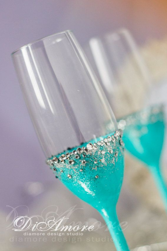 Tiffany blue & Silver weddingChampagne flutes Bride от DiAmoreDS