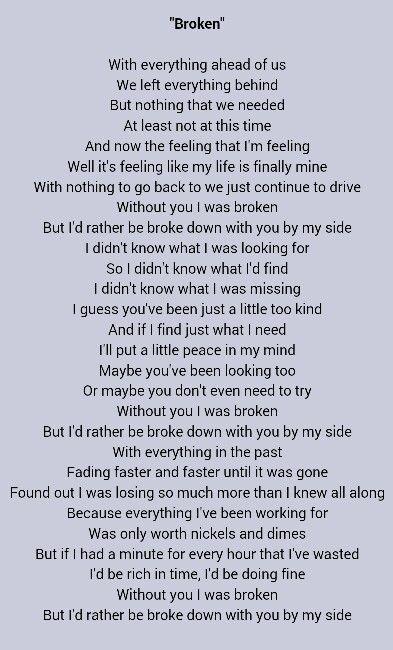 Broken lyrics jack johnson