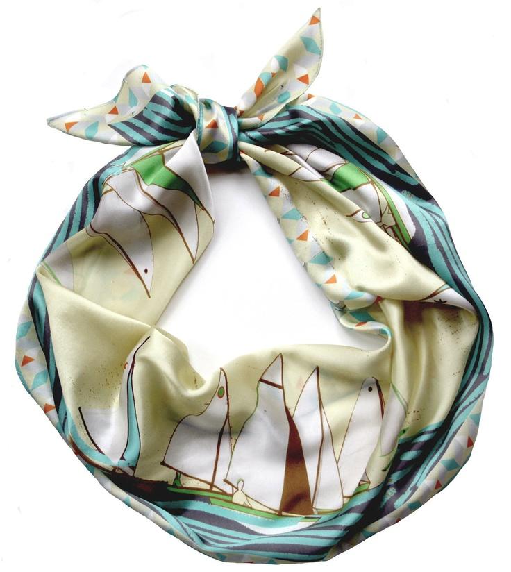 Sailing print scarf.: Silk Scarfs, Prints Silk, Racing Scarfs, Boats Racing, Prints Scarfs, Cars Accessories, Boats Scarfs, Silk Scarves, Sailing Boats