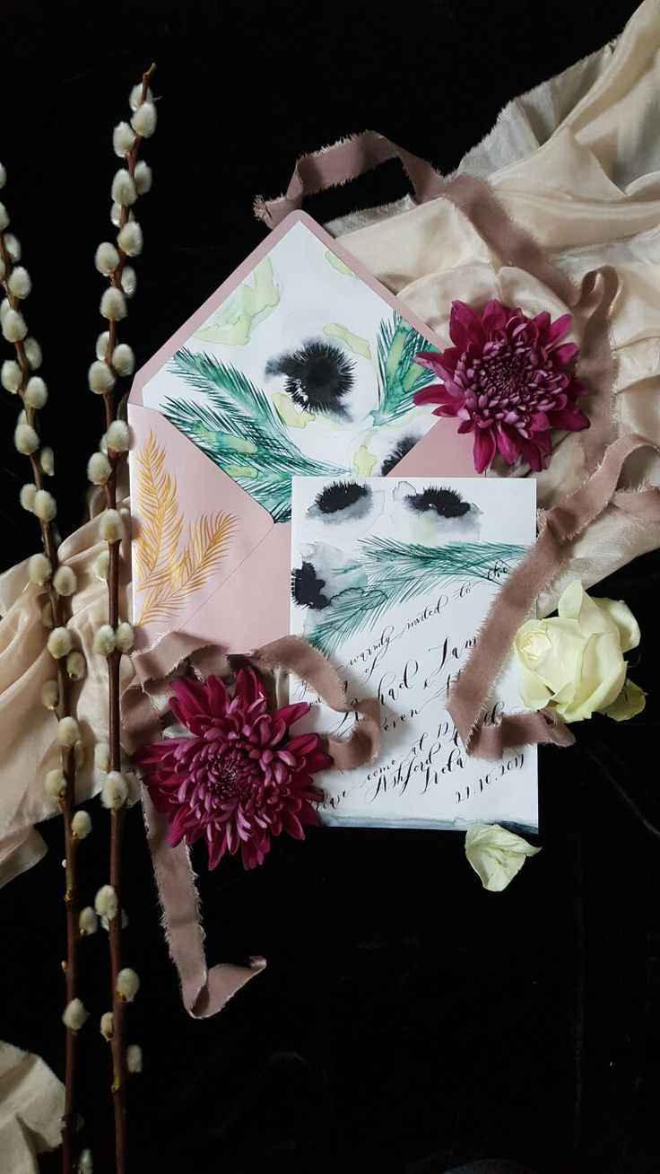 Hand painted fine art wedding invitations from Crimson Letters. Visit now at www.crimsonletters.com