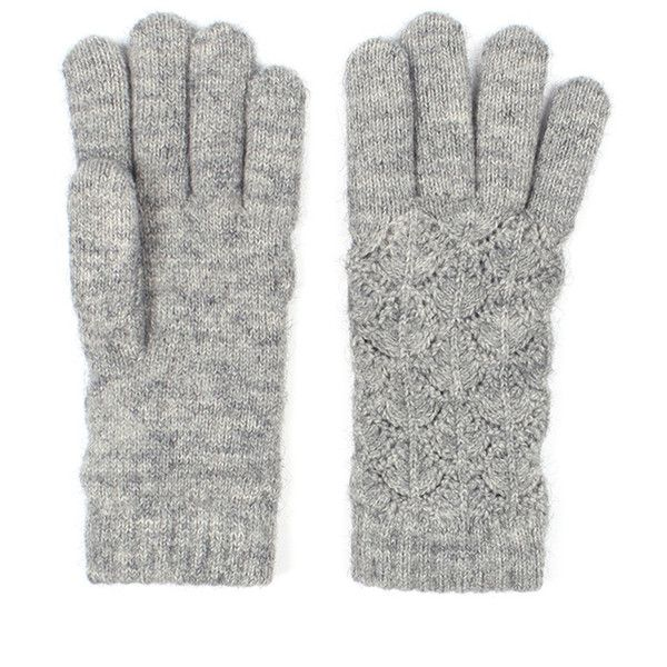 Broadway Sun Ben Trading Gray Womens Lace Knit Winter Gloves Fleece... (£25) ❤ liked on Polyvore featuring accessories, gloves, party gloves, lace gloves, lined gloves, vintage lace gloves and vintage gloves