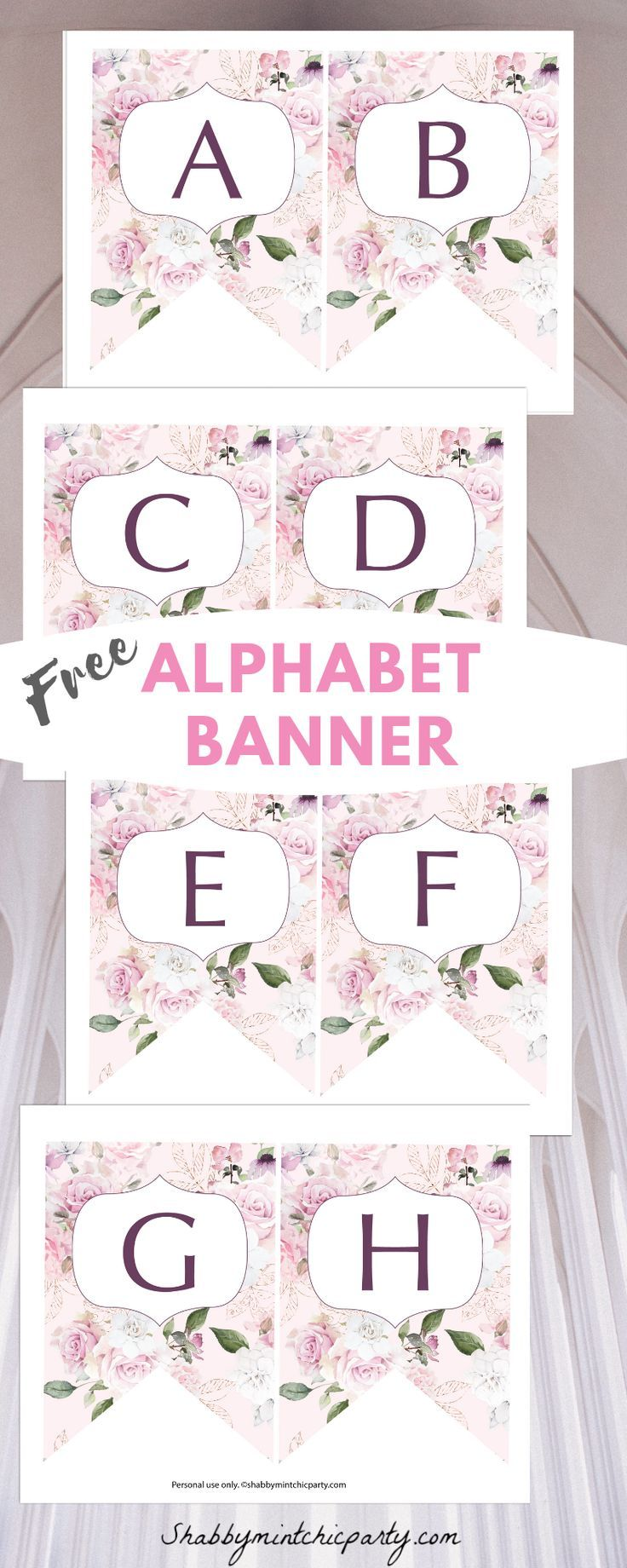 Free Printable Rose Alphabet Banner Shabby Mint Chic Party Baby Name Banners Free Printable Banner Diy Banner