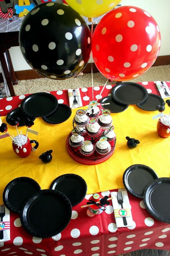 Love the plates and table at this Mickey Mouse Clubhouse Party via Kara's Party Ideas Kara'sPartyIdeas.com
