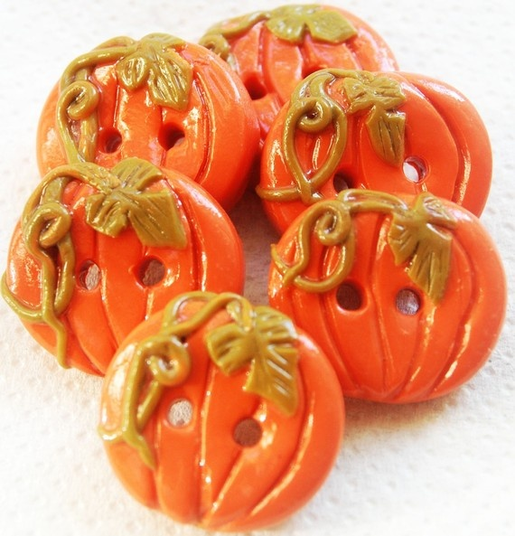 Pumpkins - set of 6 polymer handmade buttons.