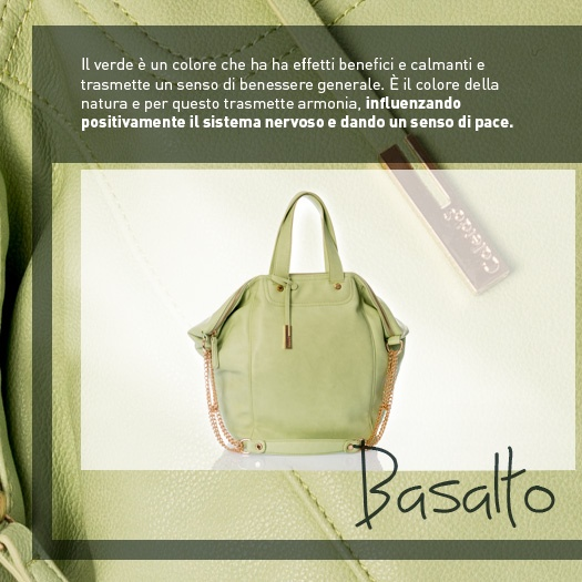 Il colore della vostra borsa è verde? Bene, perché questo colore infonde calma, pace e benessere :) http://www.caleidostore.it/it/borse-grandi/26-basalto.html