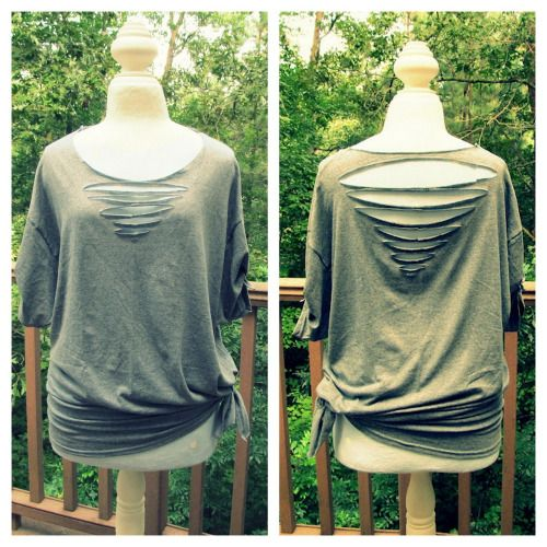 DIY Front and Back Triangle Cut Tee Shirt Tutorial from Wobisobi here.*For lots more no sew tee shirt tutorials go here:truebluemeandyou.tumblr.com/tagged/wobisobi