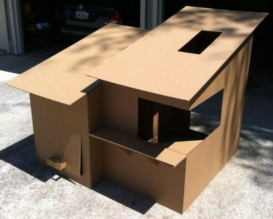 Modern Kid's Cardboard Fort. The two modules can be combined via velcro strips along the perimeters of the connecting passageway, or split up if it's deemed too big for one particular room.
