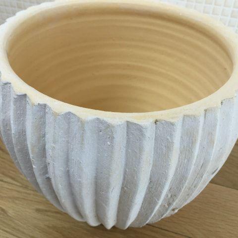 ラフな仕上がり。アンティークな縦ライン!おしゃれな植木鉢。。(送料無料) 植木鉢 おしゃれ 8号用鉢カバー YS0576-290 10号(29cm) / 陶器鉢 受け皿付き 大型