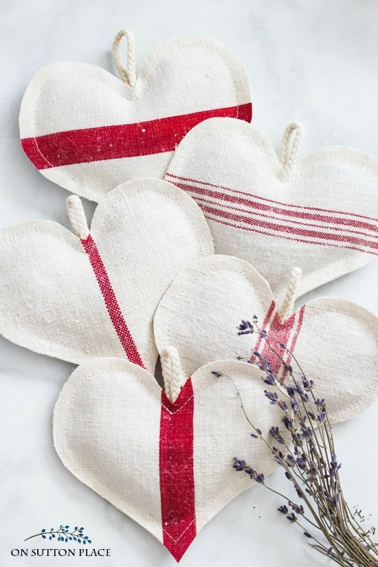 DIY Grain Sack Lavender Heart Sachets   Easy directions for making these sweet sachets. Perfect for Valentine's Day or Sweetest Day. Easy Valentine's Day decor.