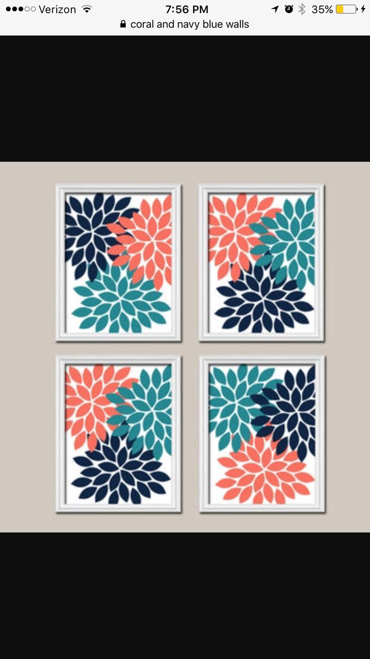 Orange Gray Teal Wall Art, Canvas Or Prints Bathroom Artwork, Bedroom  Pictures, Flower Wall Art, Flower Burst Dahlia Set Of 3 Home Decor. Aqua Coral  Navy ...