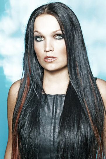 Tarja Turunen with her eyes greatly enhanced and emphasized with what looks like tawny and charcoal eyeshadow