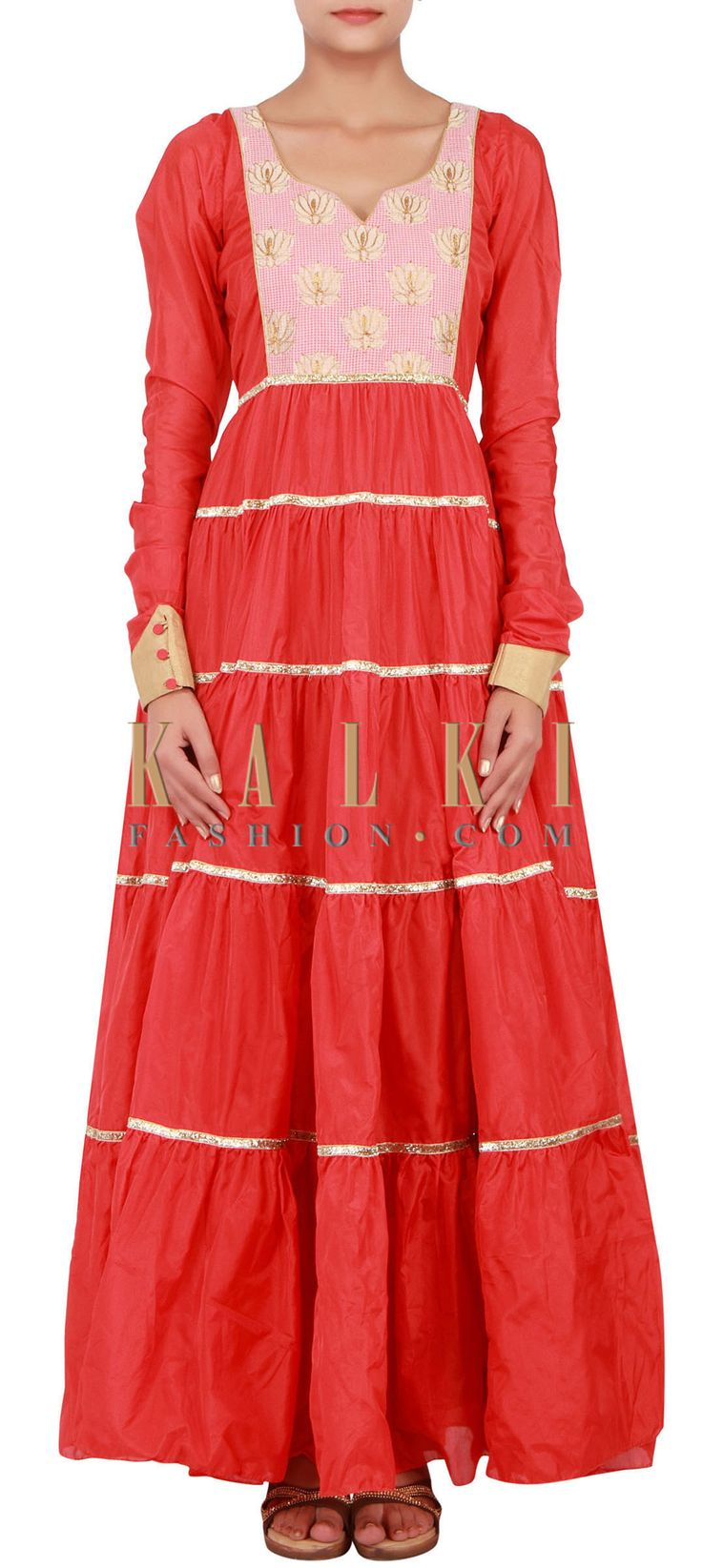 Buy Online from the link below. We ship worldwide (Free Shipping over US$100) http://www.kalkifashion.com/red-kurti-featuring-in-chanderi-silk-only-on-kalki.html