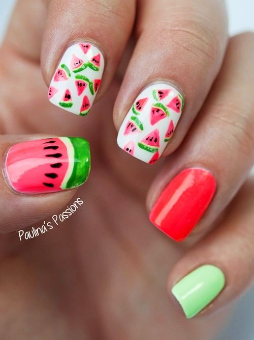 Best 25 watermelon nail designs ideas on pinterest watermelon watermelon nails prinsesfo Images