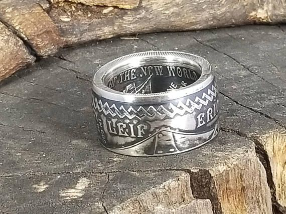 Hand-Made from a pure silver coin from Iceland!  2000 Lief Ericson - Iceland Coin Ring (1 Troy Ounce .999 Pure Silver Mens, Ladies, Womens, Engagement, Promise, Anniversary) made by www.PatriotCoinRings.com