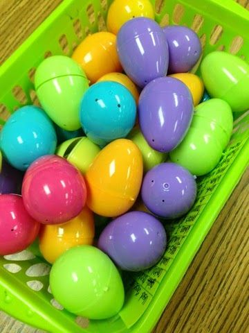 "The Teacher's Treasure Chest: Easter Egg Idea.  Put inserts like ""No Homework"", ""10 min. Computer Time"", ""5 min. Visiting with a Friend"", ""Use markers to complete assignment:, etc. into plastic eggs for the kiddos."