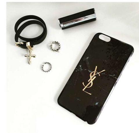 iPhone7/7 plusケース YSLイブサンローラン 大理石柄 ジェットブラック iPhone6S/6SPLUSカバー 薄型 光沢 オシャレ 個性 セレブ愛用